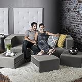 Jaxx Zipline Convertible Sleeper Sofa & Three Ottomans / California King-Size Bed, Pewter