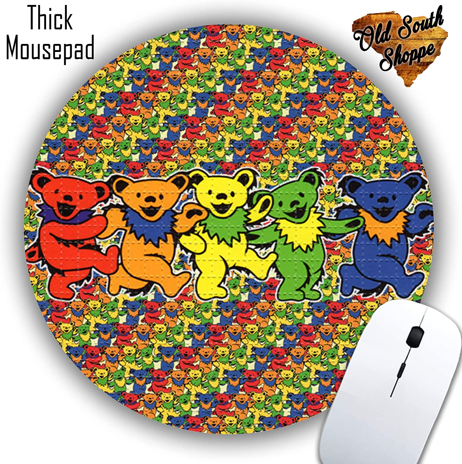 Grateful Dead Acid Bears Mousepad Round or Rectangle Grateful Dead Blotter Round Mat Mouse pad Co Worker Gift Custom Made Mousepad Beautiful Design