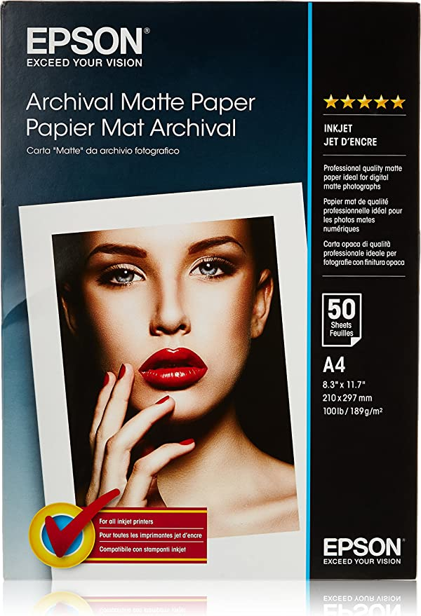 Epson Archival Matte Paper, A4, 210 x 297mm, 189 g/m2, 50 Sheets: Amazon.co.uk: Office Products