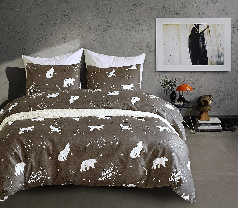 EIGOAL Kids Duvet Cover Set Bear and Big Dipper Printed Comforter Cover Cute Bedding Set Soft Lightweight Microfiber Twin/Queen/king Size