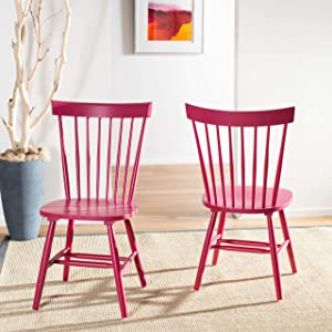 Safavieh American Homes Collection Parker Country Farmhouse Raspberry Pink Spindle Side Chair (Set of 2)