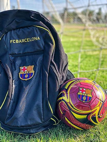 FC Barcelona Soccer Backpack + Barca Soccer Ball Size 5 Official Licensed Soccer Gift for Kids