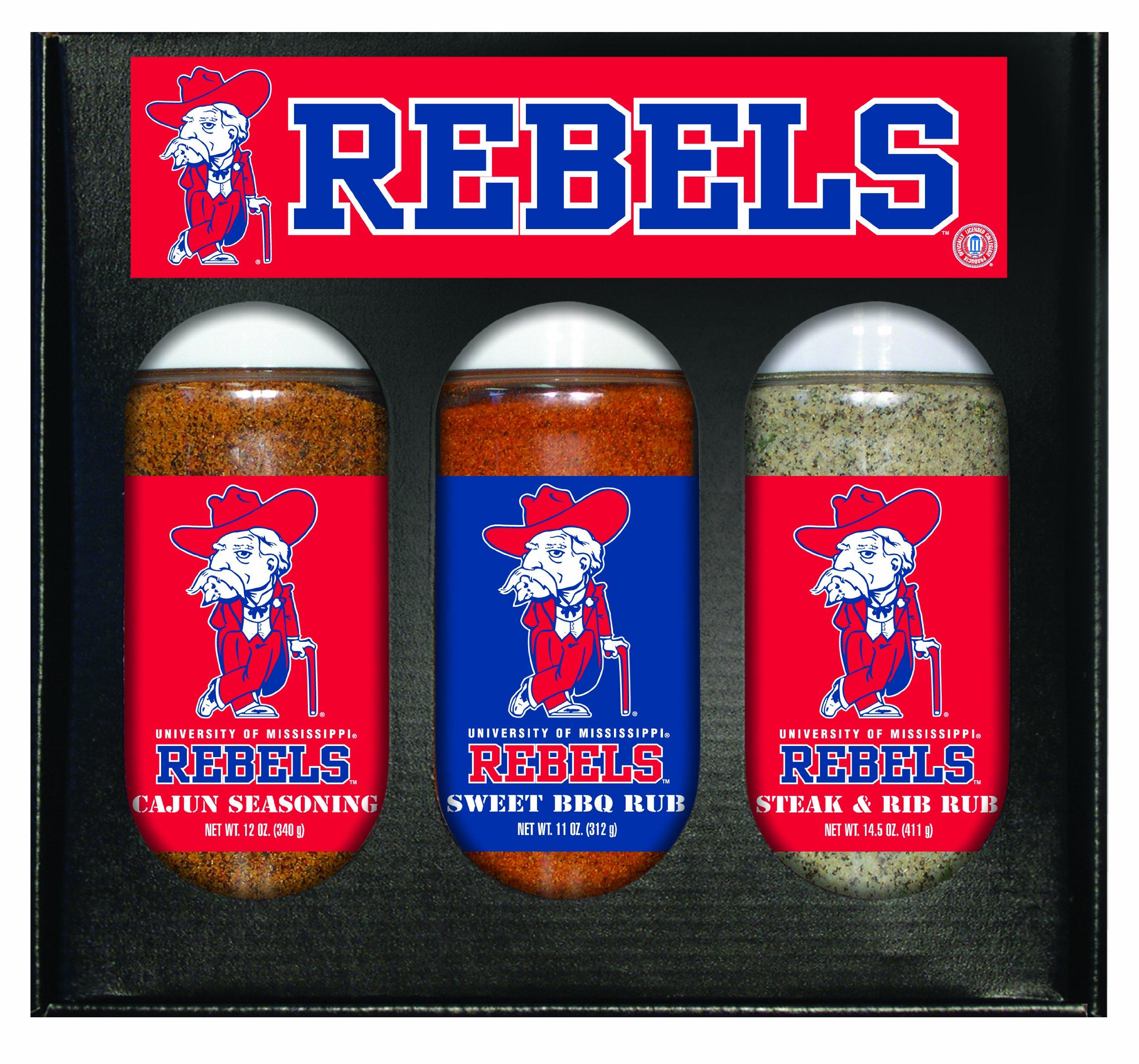 8 Pack MISSISSIPPI (Ole Miss) Rebels Boxed Set of 3 (Cajun Seas,Stk/Rib Rub, BBQ Rub)