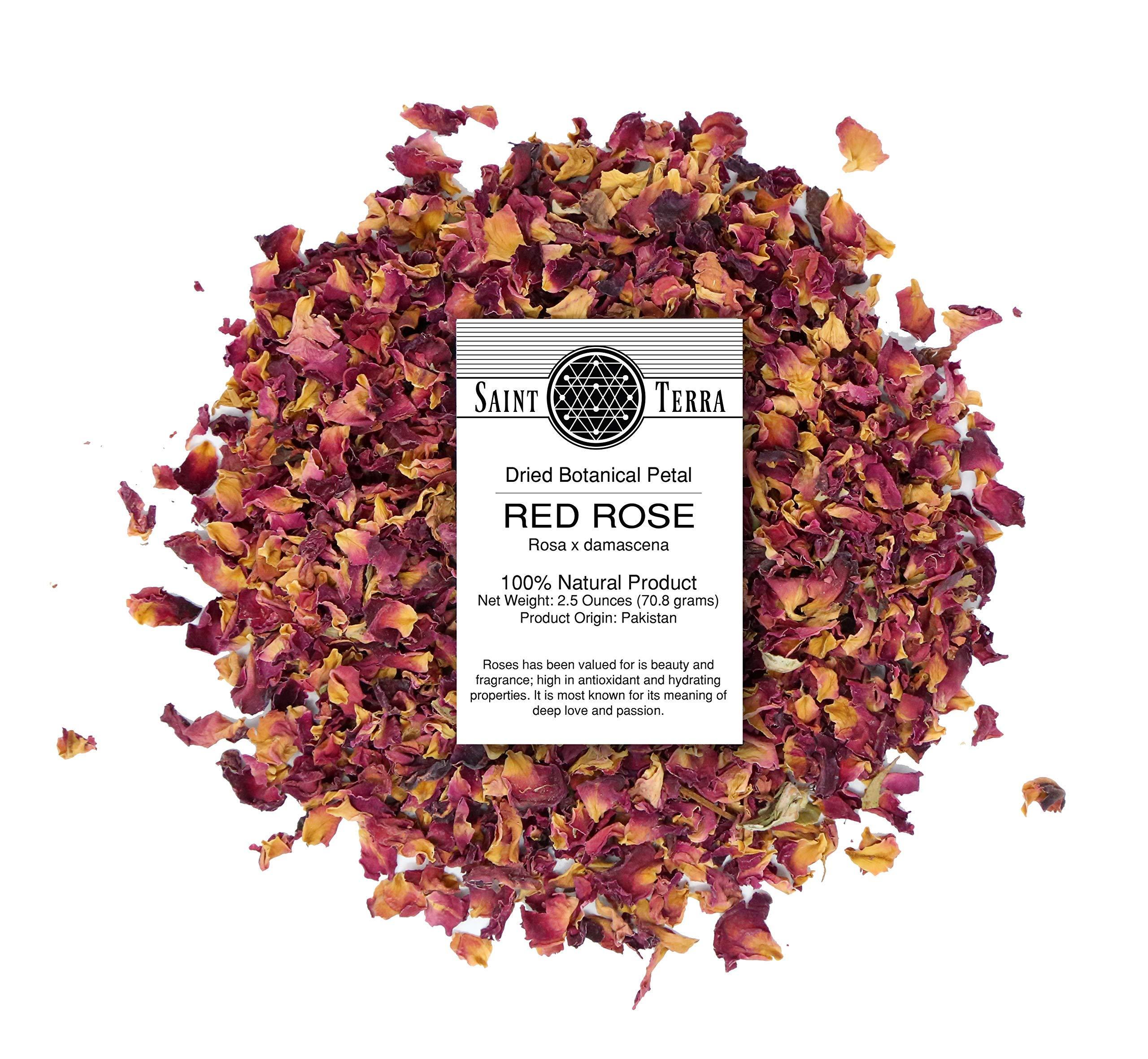 Saint Terra Dried Red Rose Petals, 2.5 Ounces