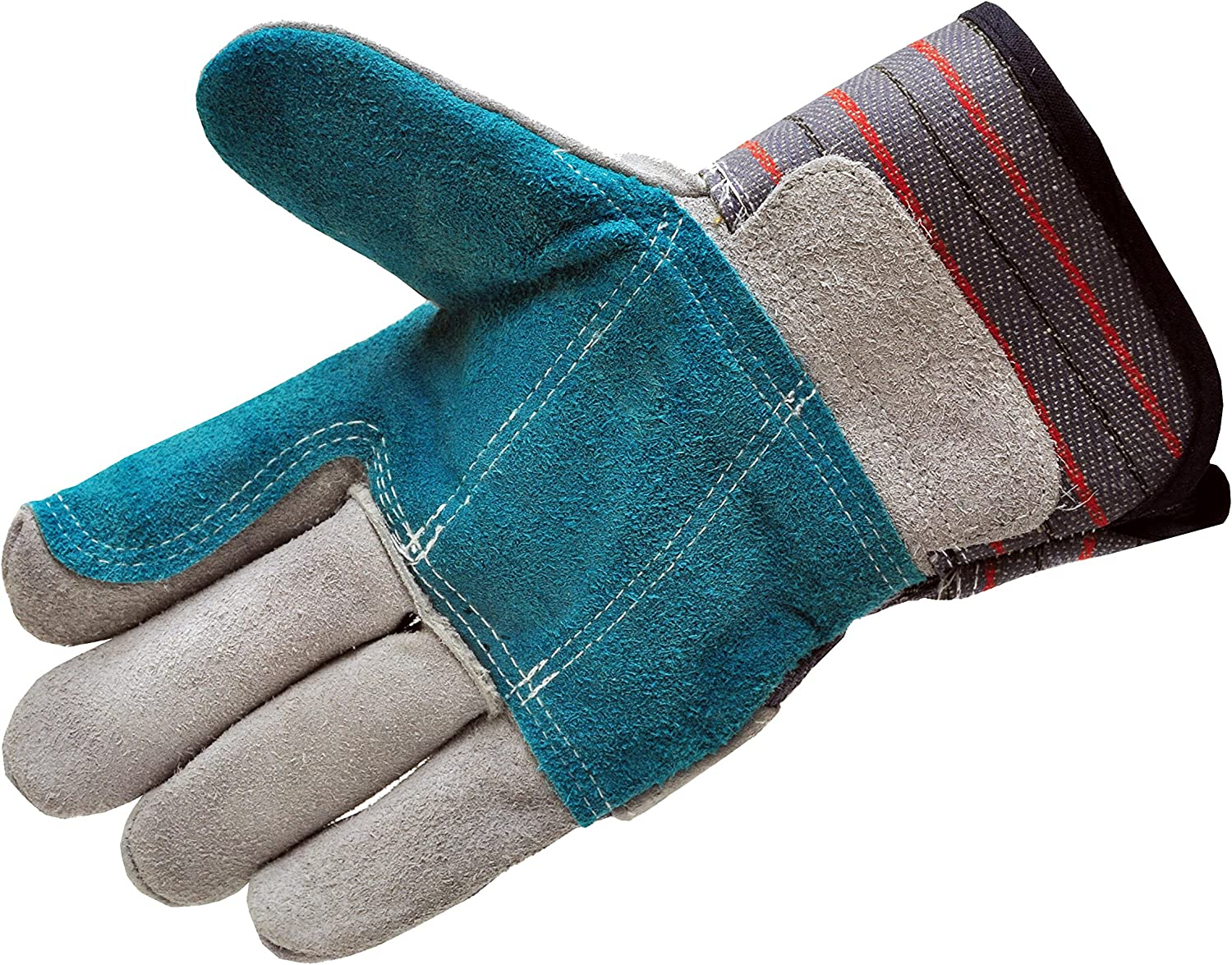 G & F Products G & F 5215L-5 Premium Suede Double Palm & Index Finger Work Gloves with 2 & 1/2 Rubberized Safety Cuff, 5 Pair Pack, Large