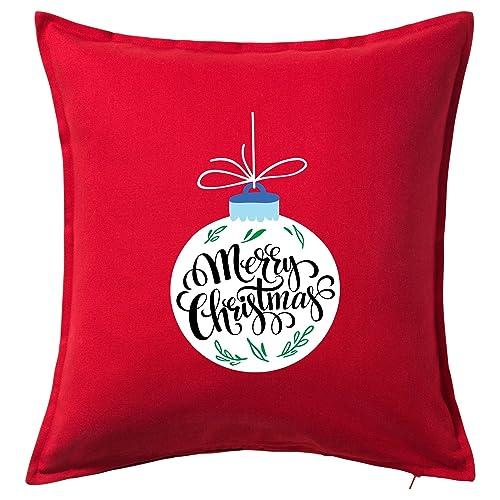 Cojín Navidad Rojo - Cuadrado 50x50 - Bambalina y Merry Christmas - 100% Algodón -