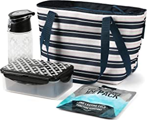 Arctic Zone Fashion Lunch Tote, Commuter, Mixed Stripes