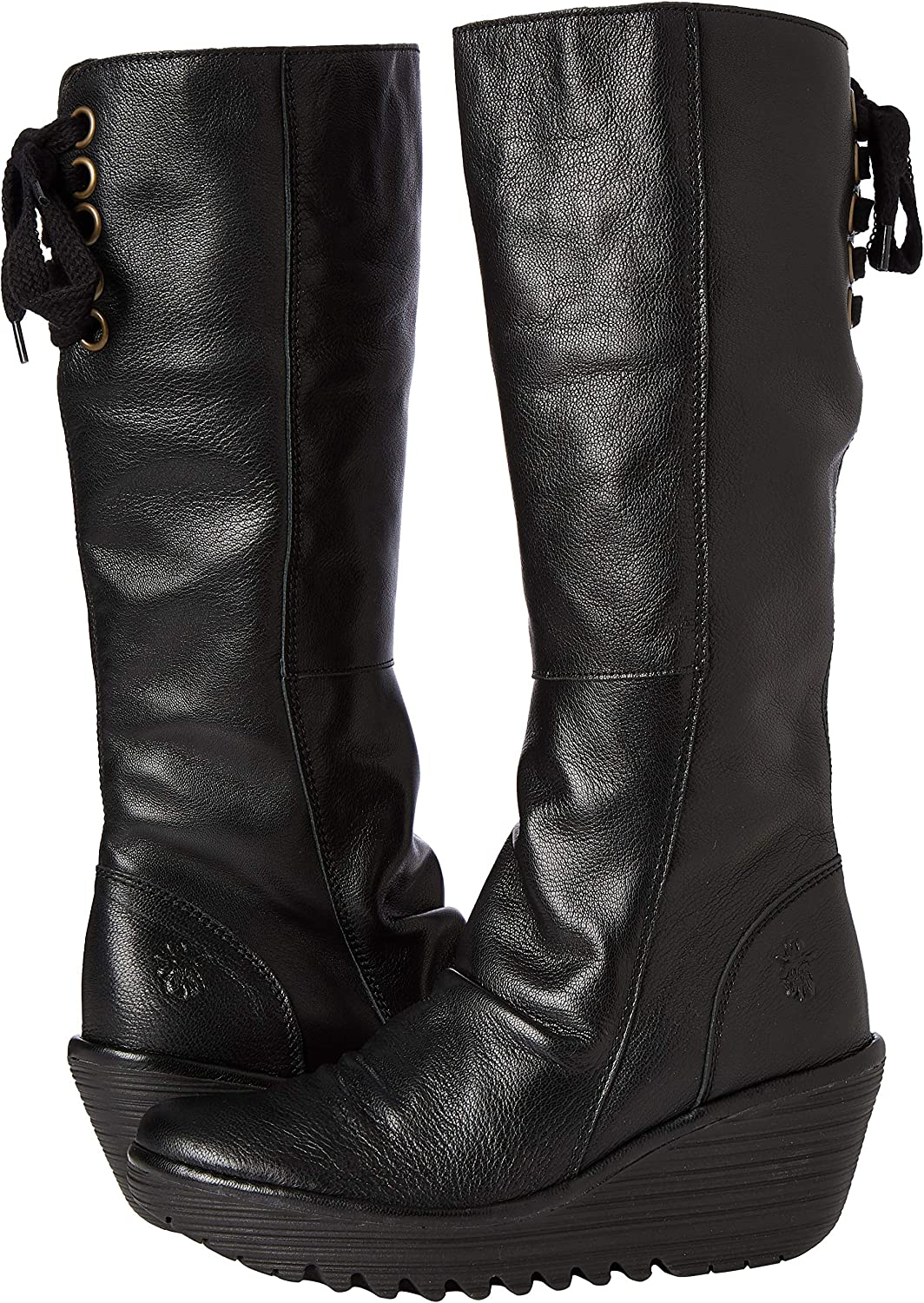 Womens Fly London Yust Extra Wide Mid Calf Winter Boot Low Wedge Cleated Black