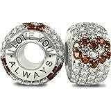 Royal Collection-I Love You Always-raffiné et luxueux en argent Sterling 925 orné de zircones cubiques et cristaux autrichien Violet perle Charm pour Pandora et autres bracelets 4 mm