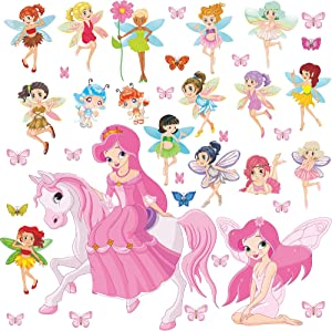 Amaonm 38pcs Removable 3D Cute Cartoon Angel Girls Wall Decals Dream Princess with Butterfly Dragonfly Flower Wall Sticker Decor for Kids Girl Bedroom Living Room Desk Door Nursery Windows Decoration