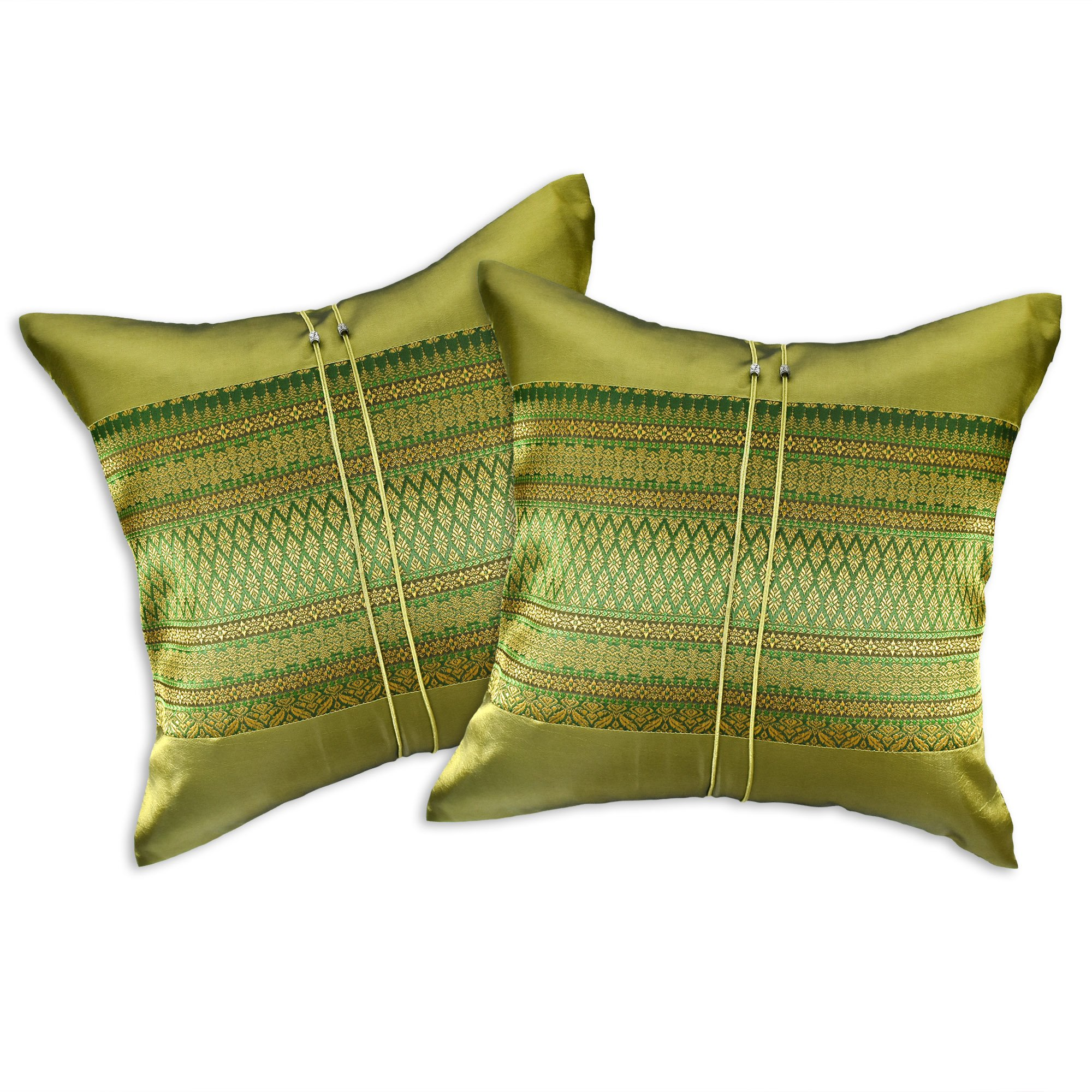 AeraVida Thai Motif Traditional Style Stripe Silk Cushion Covers