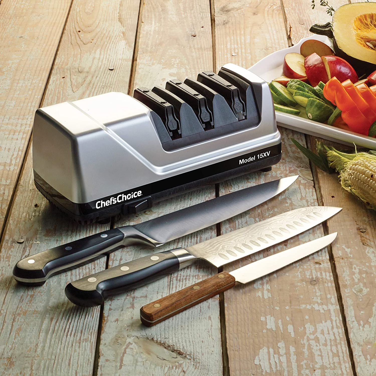 ChefsChoice 15 Trizor XV EdgeSelect Professional Electric Knife Sharpener for Straight and Serrated Knives Diamond Abrasives Patented Sharpening ...