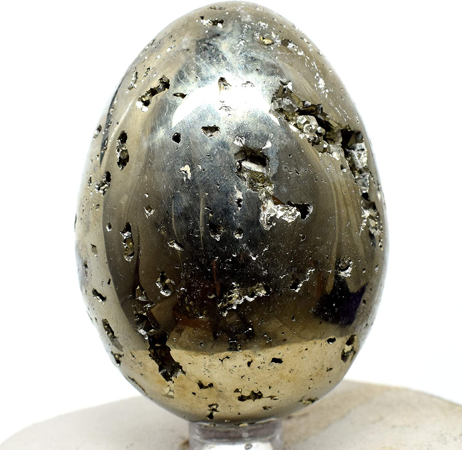 NATURAL PYRITE STONE HAND CARVED EGG