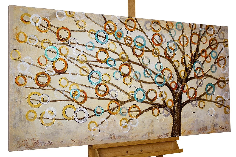 Dipinto in acrilico KunstLoft® 'Blues autunnale' in 140x70cm | Tele originali manufatte XXL | Albero della vita astratto natura marrone su beige | Quadro da parete dipinto in acrilico arte moderna