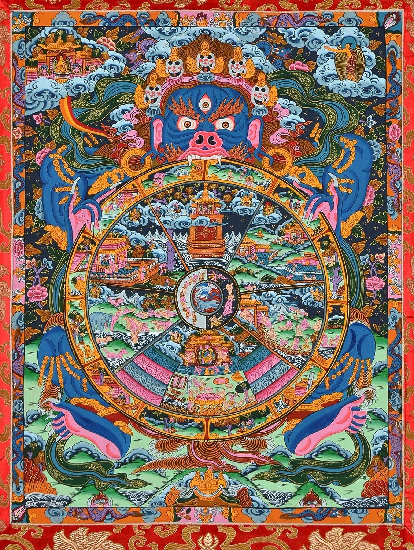Thangka vita incomodo Wheel Of Life ruota della vita con Yama in blu dipinto a mano 110/cm x 77/cm
