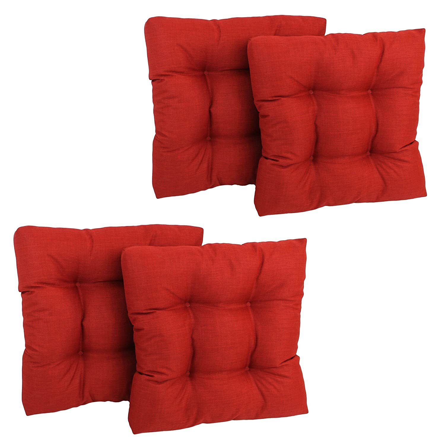 Blazing Needles Squared Solid Spun Polyester Tufted Dining Chair Cushions Set, Set of 4, 19 , Paprika