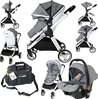 Marvel 2in1 Pram - Dove Grey with Car Seat Changing Bag