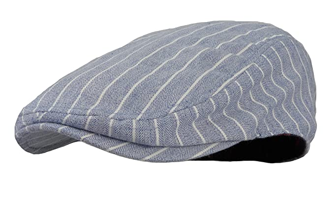 c4d13cbb94 Wonderful Fashion Men's Herringbone Wool Tweed newsboy IVY Cabbie Driving  Hat (Stripes Sky Blue)