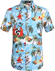 SSLR Men's Christmas Santa Claus Party Casual Hawaiian Aloha Tropical Shirt (Large Blue)
