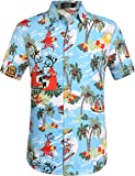 SSLR Men's Santa Claus Party Tropical Ugly Hawaiian Christmas Shirts