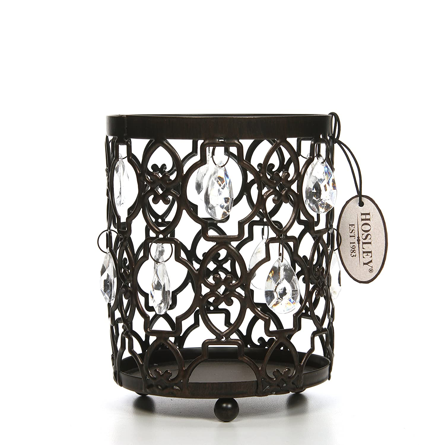 Hosley Romantic Sparkle Candle Holder/Lantern with Clear Glass Style Crystal Dandles, 5.5 High. Ideal Gift Wedding, Spa, Bridal, Aromatherapy, Reiki, Chakra, Candle Garden Setting O7 HG Global FBA-H51864PS-1-EA