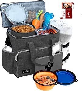 Dog Travel Bag Week Away/Overnight Accessories Organizer - Pet First Aid Pouch Airline Approved 2 Food Storage Containers and Collapsible Bowls Water Resistant for Small, Medium & Large Dogs Charcoal