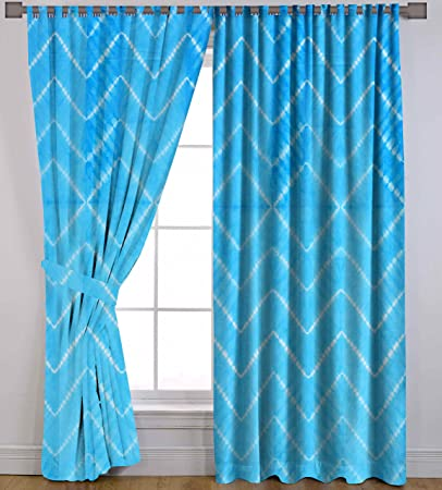 Turquoise Cotton Window Valances Door Hanging Shibori Tie Dye Waves Treatment Door Wall Curtains Tab Top 2 PC 82