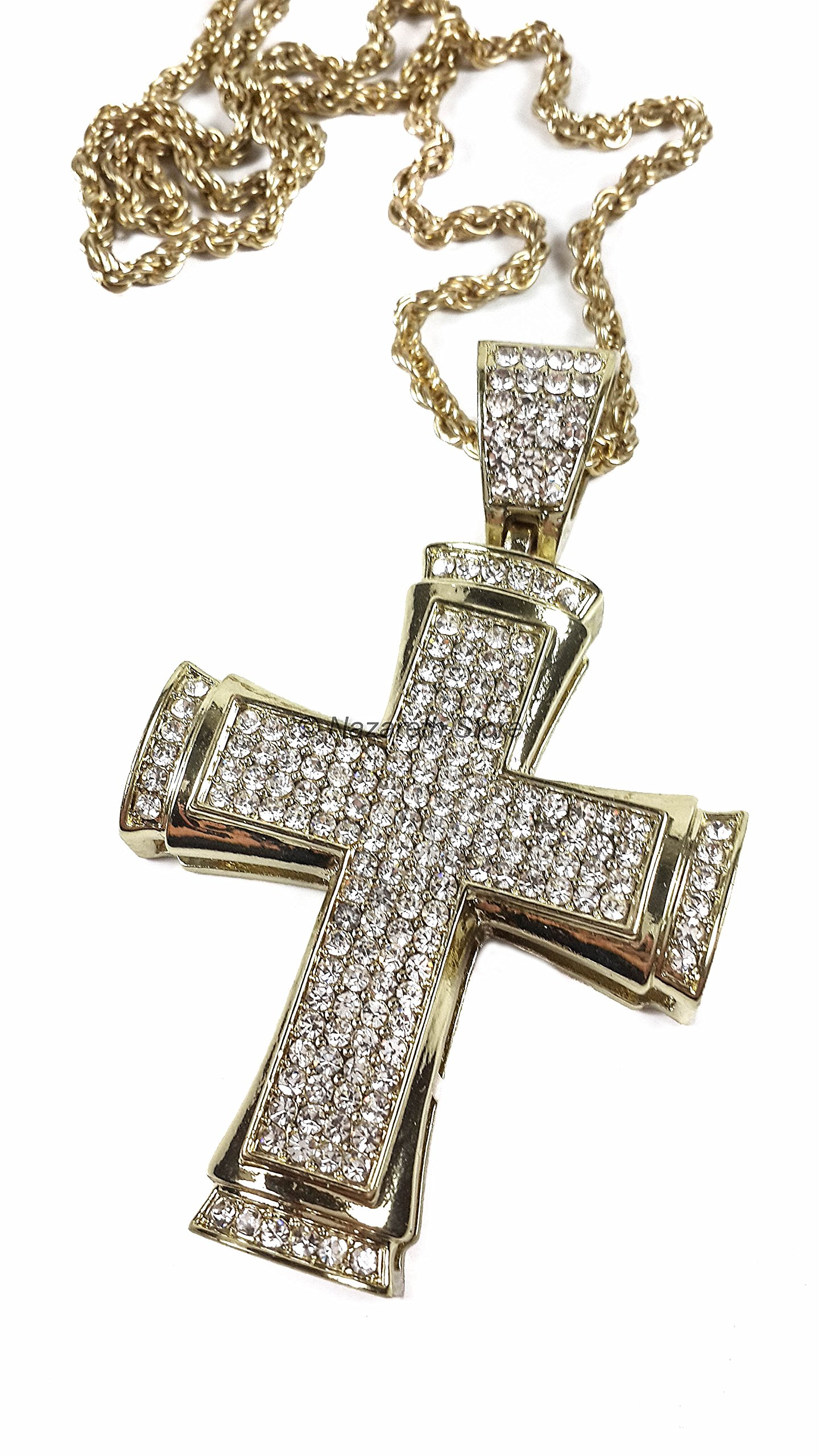 Golden Pectoral Cross Zircons Crystallized Elements Christian Catholic Crucifix