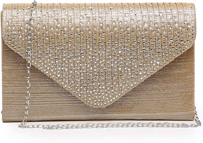 New Ladies Glitter Evening Clutch Bag Womens Wedding Party Prom Envelope Handbag