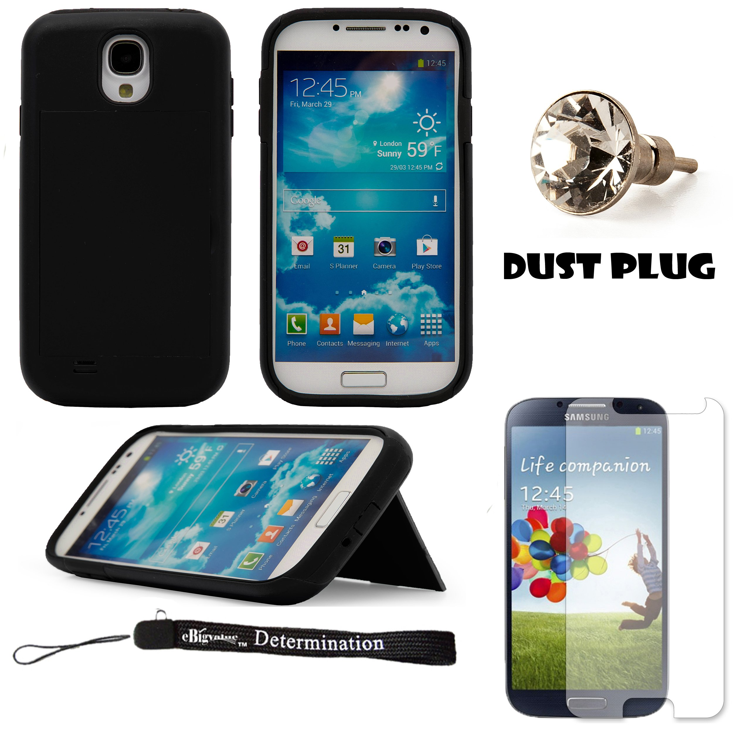 Black 2-Piece hard Protective Case with Credit Card Holder Slot and Stand For Samsung Galaxy S4 Android Smartphone 4G LTE (Jelly Bean) + Silver Swarovski Crystal Headphone Jack Dust Plug + Samsung Galaxy S4 Screen Guard Protector + an eBigValue ™ Determ