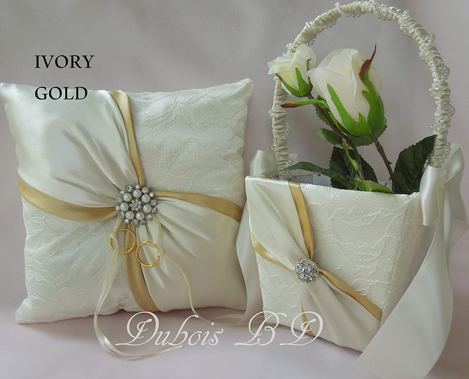Wedding ring bearer pillow and Flower girl basket 2 pcs. set, Ivory and Gold ring bearer pillow, Sash ring pillow, Lace ring pillow