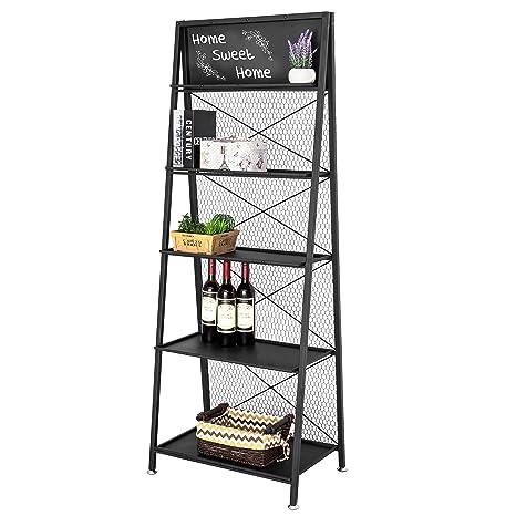 Amazon.com: MyGift estantería de estantería, 5 negro ...