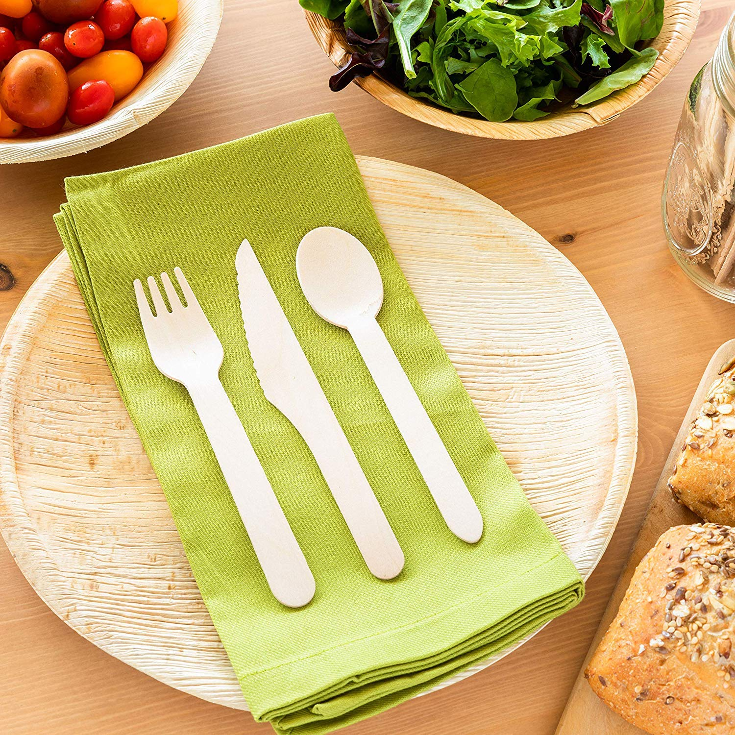 Disposable Wooden Cutlery Set Birchwood- Eco Friendly Biodegradable Wooden Cutlery - Plastic Free Wooden Disposable Utensils - Compostable Cutlery - 120 Wooden Forks,120 Wooden Spoons,60 Wooden Knives