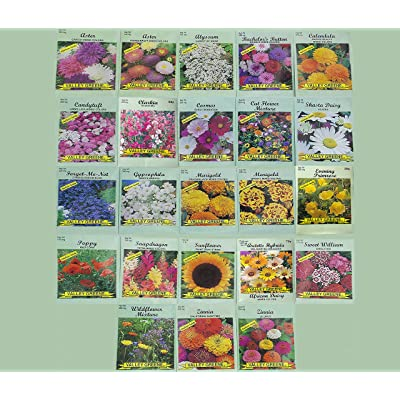 Set of 23 Valley Heirloom Green Flower Seed Packets(Guaranteed 23 Different Varieties as Listed and Pictured) : Garden & Outdoor