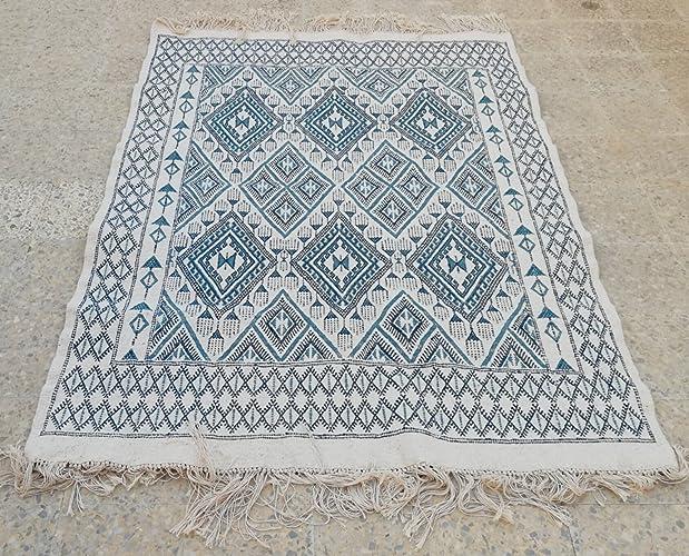 Amazon Com Moroccan Rug Blue Rug Kilim Rug White Rug Persian
