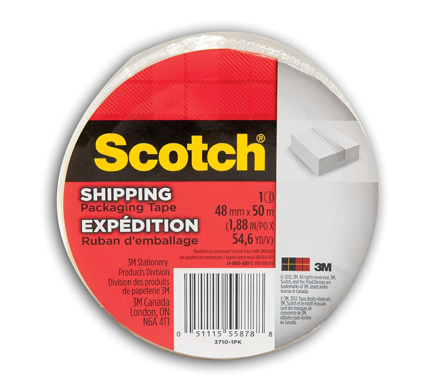 Scotch Shipping Packaging Tape with Dispenser, 48 mm X 50 m, 1 Roll, (3710-1PKWD) 3M Canada Company