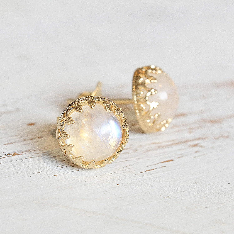 moonstone earrings,round post earrings,silver earrings,gemstone earrings,semiprecious earrings,stone earrings