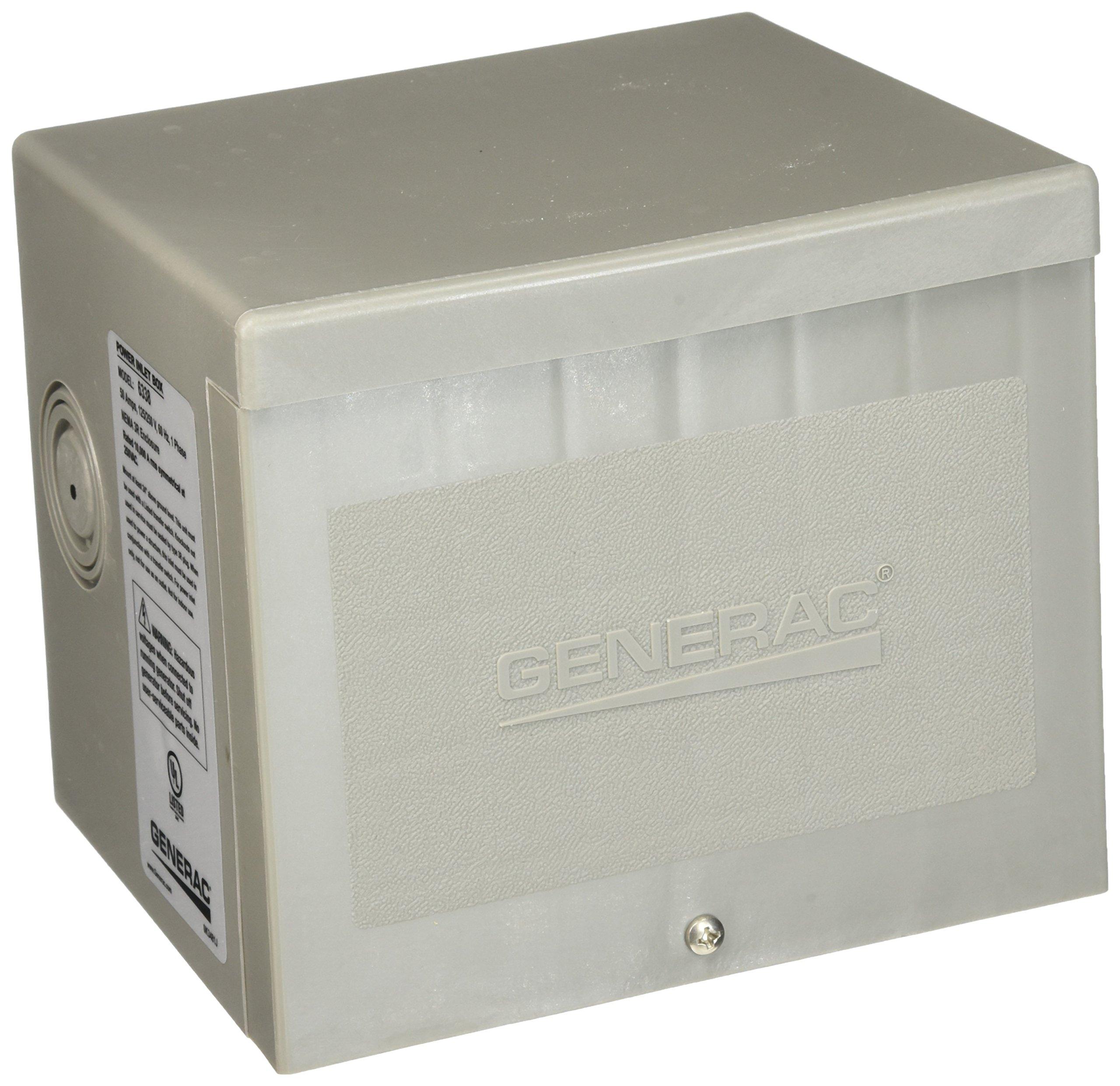Generac 6338 50-Amp 4-Wire 125/250V Raintight Non-Metallic Power Inlet Box by Generac