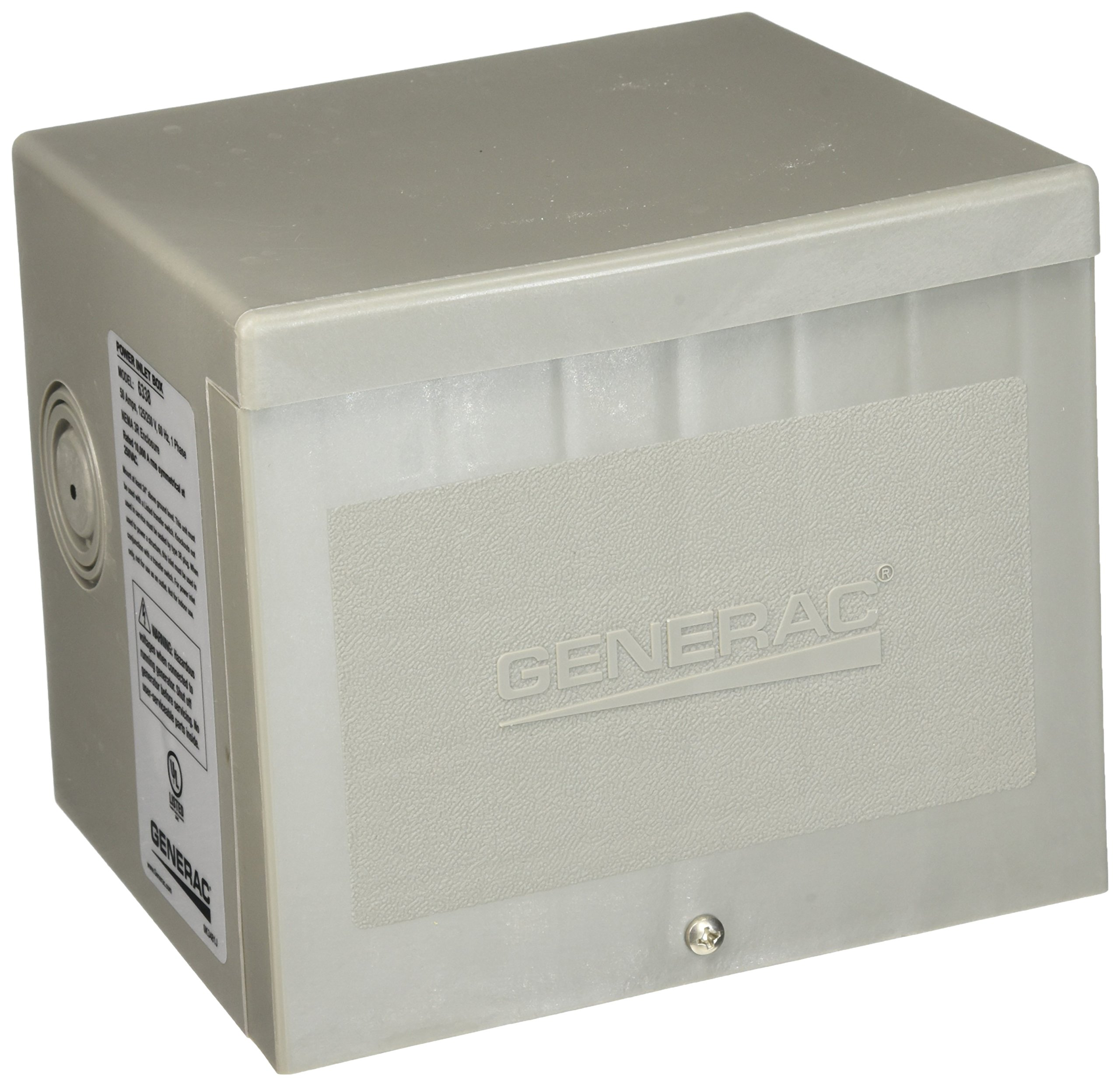 Generac 6338 50-Amp 4-Wire 125/250V Raintight Non-Metallic Power Inlet Box by Generac (Image #1)