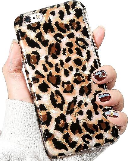 IDWELL Coque pour iPhone 6S et 6 Motif léopard Translucide et fin