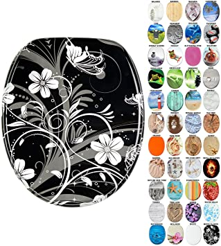 Tremendous High Quality Toilet Seat Wide Choice Of Beautiful Toilet Seats Stable Hinges Easy To Mount White Flower Forskolin Free Trial Chair Design Images Forskolin Free Trialorg