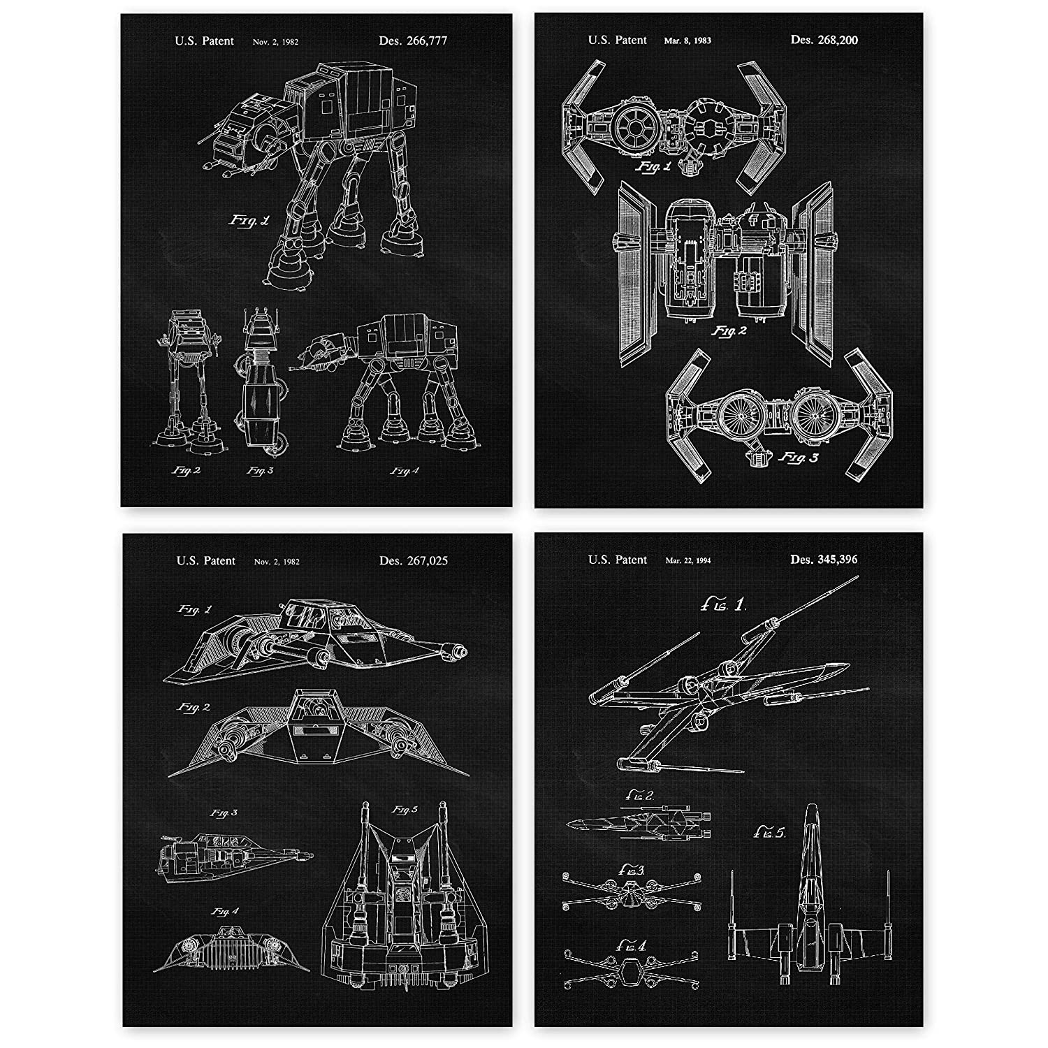 Vintage Star Wars Patent Art Poster Prints, Set of 4 (11x14) Unframed Photos, Great Wall Art Decor Gifts Under 25 for Home, Office, Garage, Studio, Man Cave, Student, Teacher, Comic-Con & Movies Fan