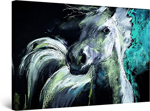 Startonight Canvas Wall Art White Teal Horse Painting