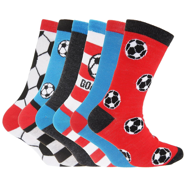 Childrens Boys Football & Stripe Pattern Casual Socks (Pack Of 6) UTK113_2