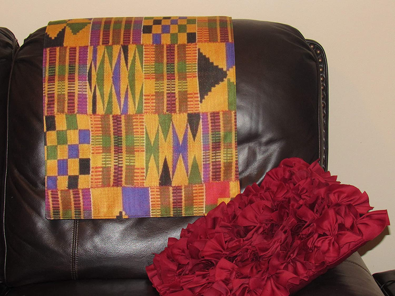 African Kente Print Headrest Cover 17x27