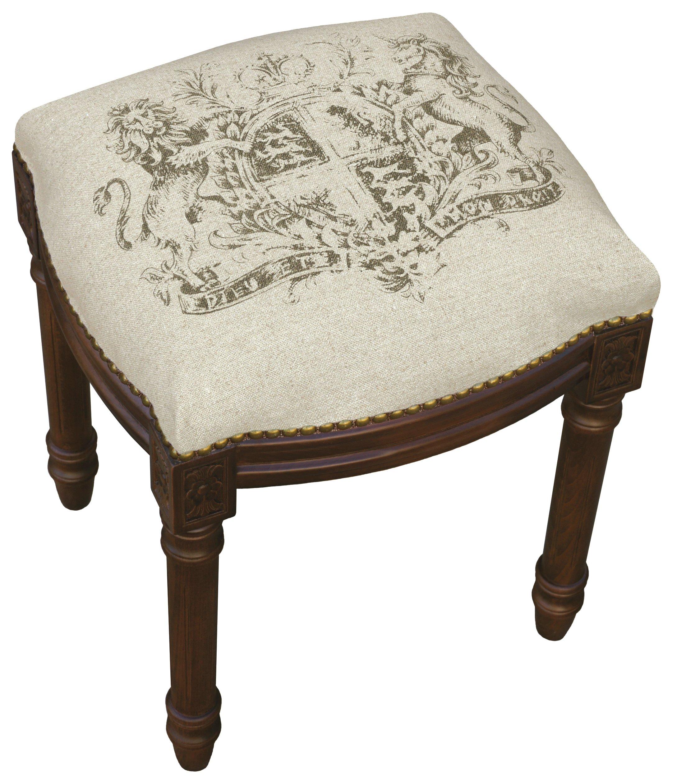 SketchONE Linen Upholstered Vanity Stool, Crest, Smoky Gray