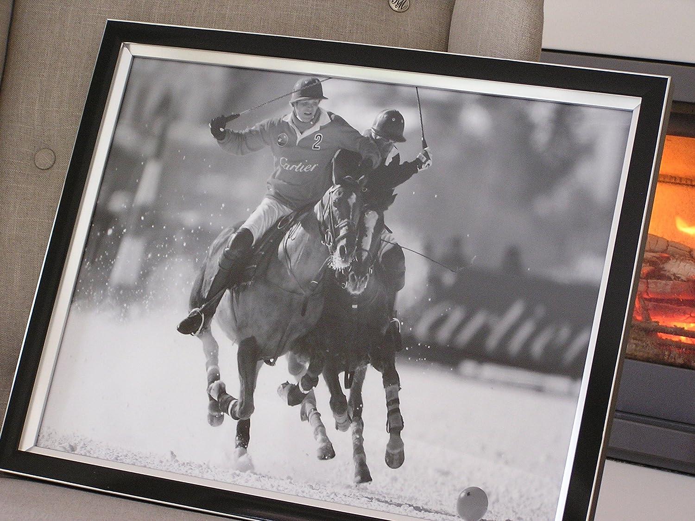 Polo Sport Wandbild Bild Pferde Druck Schwarzer Rahmen: Amazon.de ...