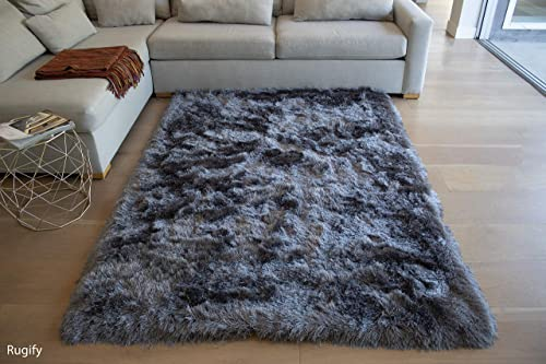 5×7 Gray Grey Color Two Tone Area Rug Carpet Rug Solid Soft Plush Pile Shag Shaggy Fuzzy Furry Modern Contemporary Decorative Designer Bedroom Living Room Hand Woven Non-Slip Canvas Backing