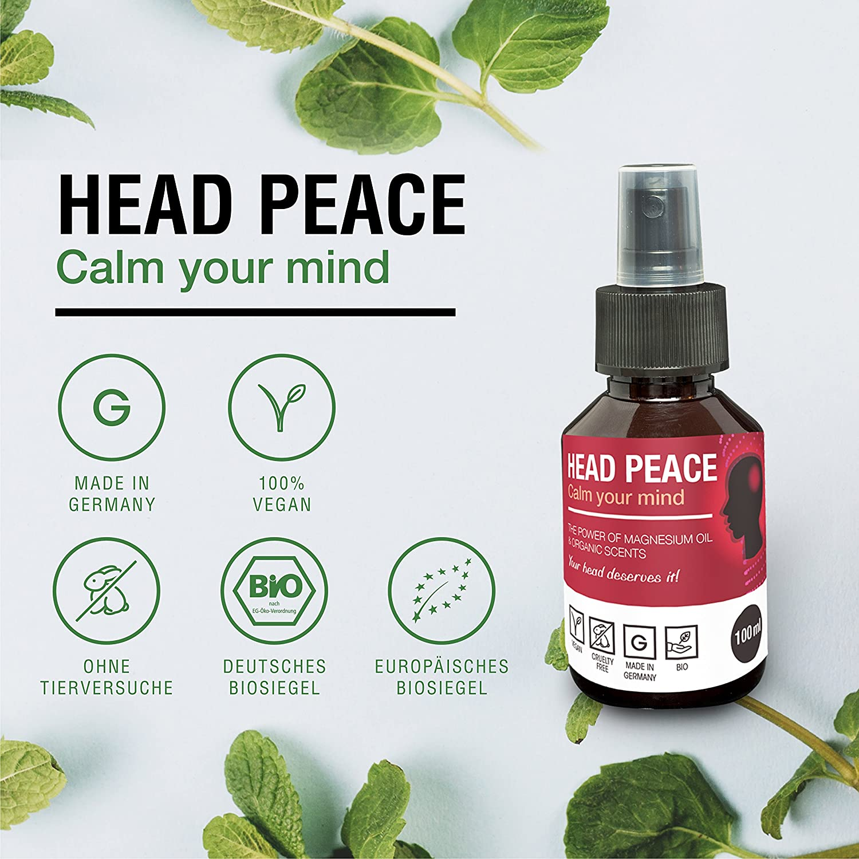 Aceites esenciales de Magnesio para dolores de cabeza HEAD PEACE | Para migrañas leves e intensas| Spray relajante natural 100% | Con menta y romero: ...