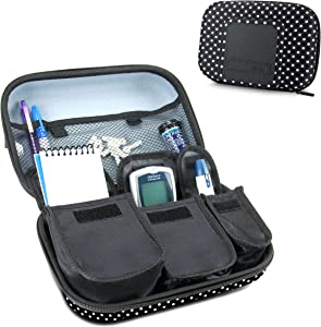 USA Gear Travel Medicine Organizer for Diabetic Supplies - Omnipod, Glucose Monitoring System, Syringes, Insulin Vials and Lancets - Compatible with ACCU-CHEK, Bayer Contour, TRUEtest - Polka Dot